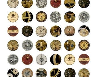 Steampunk Bottlecap No. 1 - 1 Inch Circles - Digital Collage Sheet - Instant Download