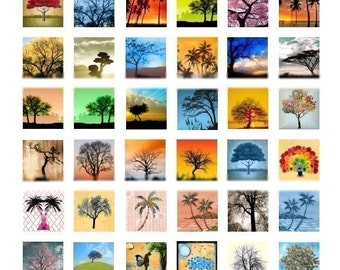 Just Trees Scrabble - 1x1  - Digital Collage Sheet - Instant Download