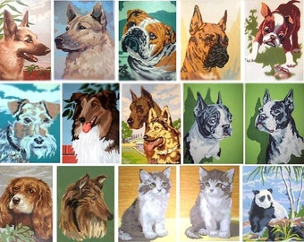 Vintage Animal Paint by Numbers - 3 Digital Collage Sheets - Instant Download