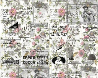 Wall-to-Wall Background - Newsprint on Pink Flowers - Digital Collage Sheet - Instant Download