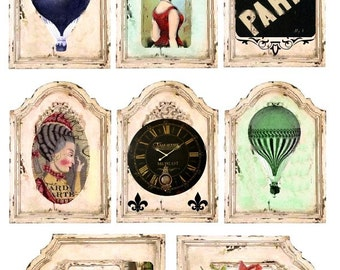 French Vignettes No. 1 - ACEO Size - Digital Collage Sheet - Instant Download