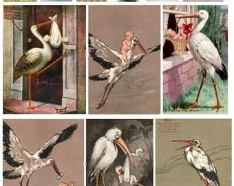 The Stork Arrives - Digital Collage Sheet - Instant Download