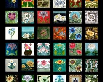 Art Nouveau Florals - 1x1 - Digital Collage Sheet - Instant Download