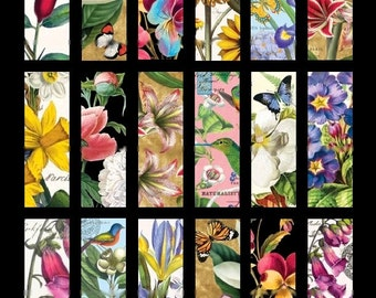 Vibrant Flowers Microscope No. 1  - 1x3 - Digital Collage Sheet - Instant Download