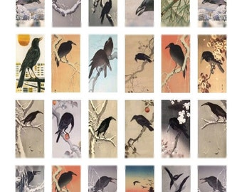 Crows and Ravens Domino - 1x2 - Digital Collage Sheet - Instant Download