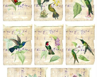 Hummingbirds on Handwritten Music - ACEO Size - Digital Collage Sheet - Instant Download