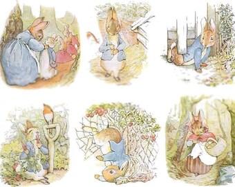 Precious Peter Rabbit No. 2 - Digital Collage Sheets - Set of 2 - Instant Download