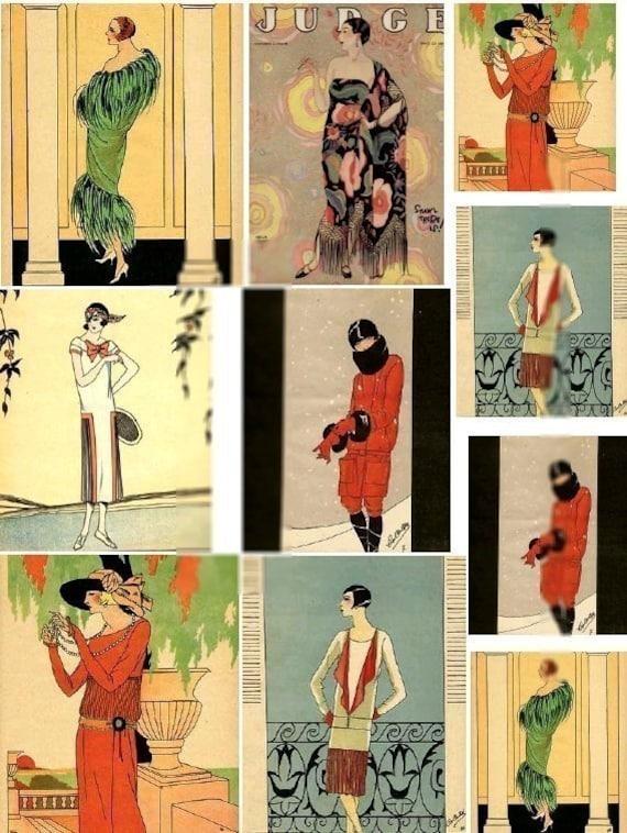 Flapper fashion no 3 art deco era 2 digital collage for Art deco era clothing