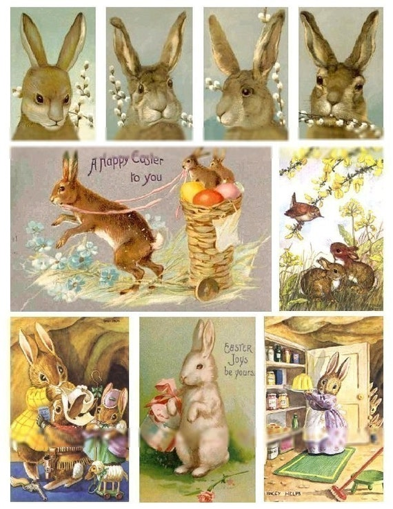 Bunny Rabbits No. 3 - Digital Collage Sheet - Instant Download