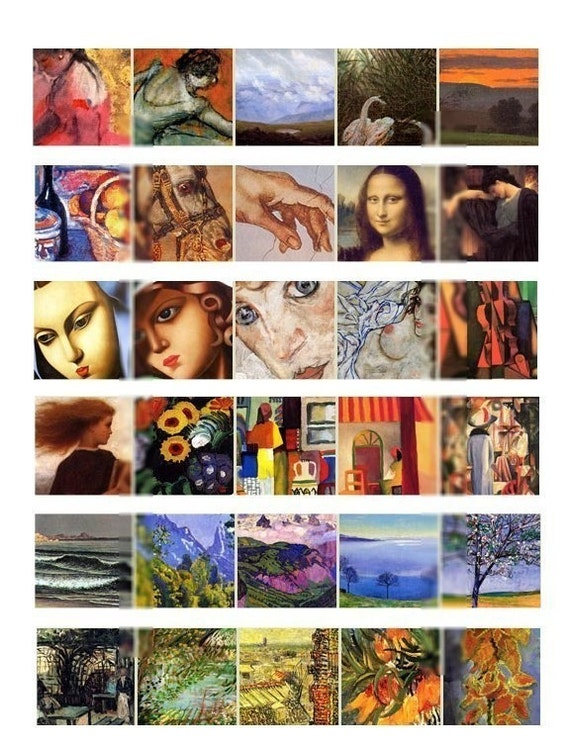 Masters Art Charm Set - 150 1.25x1.25 inch images - 5 Collage Sheets - Digital