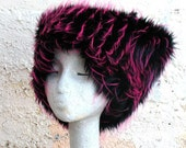 UV Hot Pink KOZY KITTY hat Electric magenta faux fur hat - Women Teens edm fuzzy fur hat Raver Neon Pink tufts black Burning Man Mardi Gras