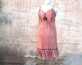 Plum Frappe - Vintage Slip Dress -  Hand dyed Reconstruction OOAK 16 plus size in rose taupe and lavender purple