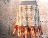 Honeycomb Diamonds  Skirt - vintage fabric skirt  doubleknit - XS - tan white gray dots OOAK office fashion