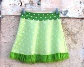 Fleur de Lime dots MINISKIRT from vintage fabric skirt white green summer skirt polka dots girl teen indie womens skirt  XS SM absinthe neon