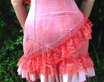 CORAL ISLET Slip Dress -  Eco Fashion hand dyed slip reconstructed vintage slip - M to L-  upcycled clothing lace ruffle spring fashion
