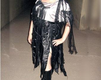 ZOMBIE MAID Dress - Black Silver tatters shredded  plus size zombie dress - 3X 4X Plus size dress 22 24 26 W womens halloween costume