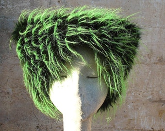 Electric green Faux Fur Hat - UV Neon LIme Kozy Kitty Hat - Green Black Mardi Gras hat Woman Men EDM Rave Wear teen Sm Med Lg XL Burning Man