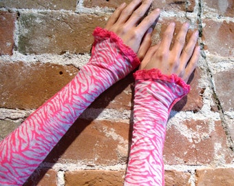Hot Pink Zebra Arm Warmers Opera Gauntlet Sleeves Pink White Lolita Tiger stripes - Neon Raver Psytrance Harajuku armwarmers