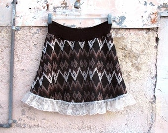 Electric Brown Mini skirt Eco Fashion Chevron Zig Zag Vintage Fabric MED - Brown womens skirt ruffle clothing indie skirt ascii diamonds