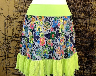 Lime Bouquet Flirt - Vintage fabric summer skirt Neon Ruffle clothing - XS Sm Med Large Floral Skirt psychedelic teen upcycled clothing