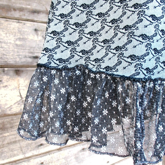 ROADRUNNER STARS Skirt - Vintage Fabric skirt with Ruffle fashion - Womens Gray Black upcycled clothing Sm Med Large Xl XXL Plus size