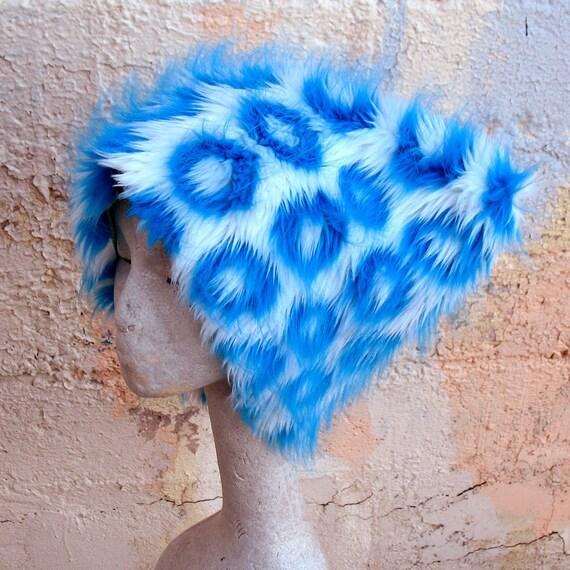Smoke Signals faux fur hat  KOZY KITTY HAT --   uv white blue turquoise - unisex- raver hat edm Blacklight warm winter hat
