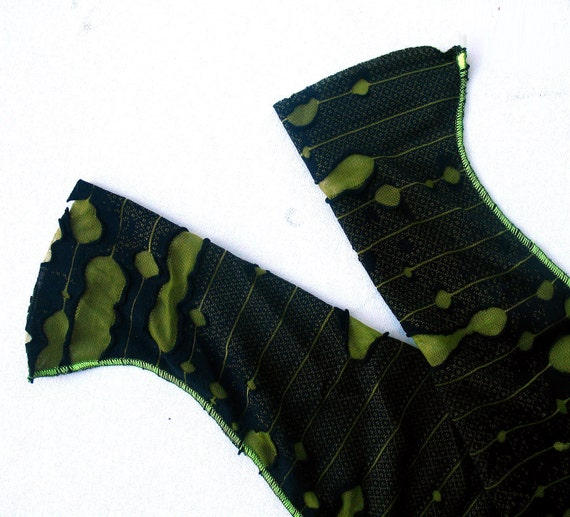 Decayed Zombie Gauntlet sleeves - holey black and rotting green - adult costume accessories zombie arm warmers gloves men women