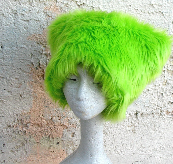 Extra Lime - KOZY KITTY Hat - Neon Green Faux Fur hat Men women absinthe fairy EDM Raver fuzzy hat girls boys rave wear