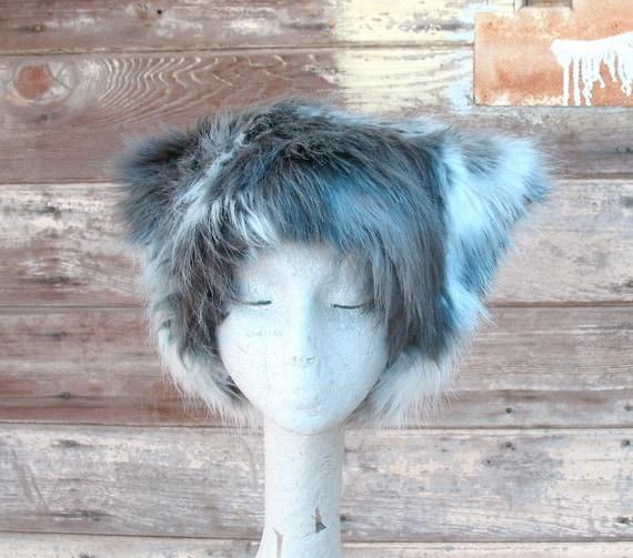 Gray Pinto faux fur hat - Kozy Kitty hat variegated white gray silver fuzzy hat - men women warm winter fur hat MEDIUM ONLY