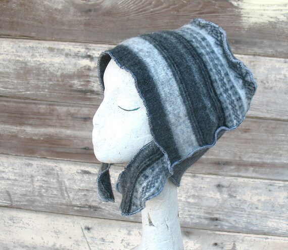 Stratification -- Curly Flap Fez - wool felt hat ear flap beanie Large - Men Women Unique hat OOAK one off upcycled clothing