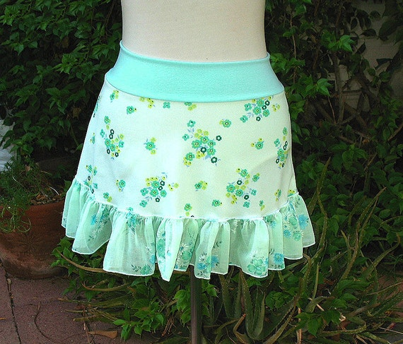 FROSTY Mint FLOWERS Mini Skirt - vintage 1970s fabrics - XS Sm Med aqua floral womens mini skirt teen summer skirt upcycled clothing