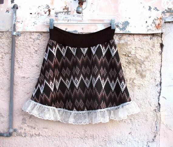 Electric Brown Mini skirt Eco Fashion Chevron Zig Zag Vintage Fabric MED - Brown womens skirt ruffle clothing indie skirt ascii diamonds