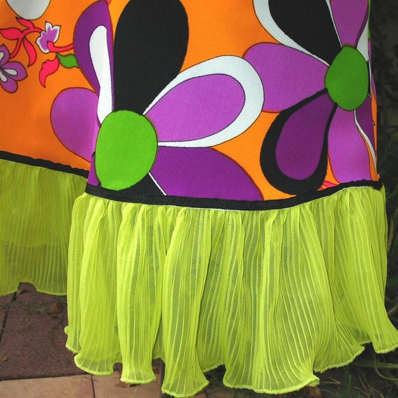 Purple Lime Flower Power mini Skirt - 1960s vintage fabric CUSTOM SIZE Mod psychedelic skirt  eye pop orange lime womens upcycled clothing