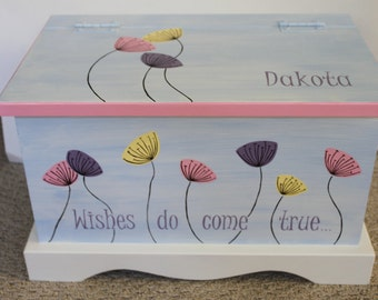 Baby keepsake box Wishes Do Come True Baby Keepsake Chest Box personalized baby girl gift hand painted