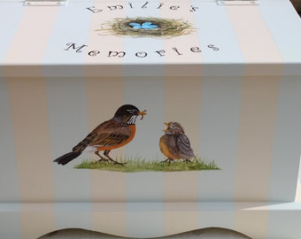 Baby Keepsake Box Baby Keepsake Chest Bird nest baby memory box hand painted personalized baby gift neutral