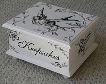 Keepsake Box - Memory Box - black toile baby gift hand painted
