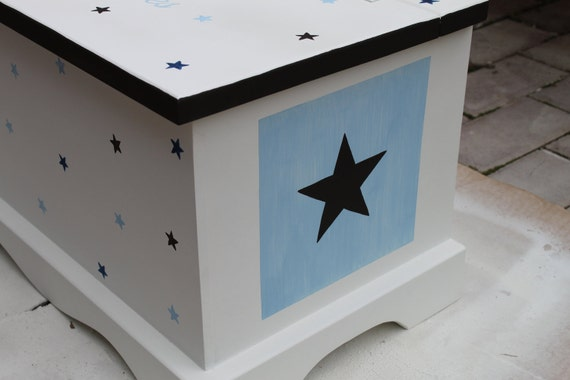 Blue and Brown Stars baby keepsake chest box personalized baby gift