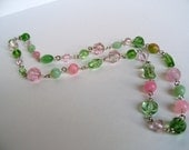 Pink & Green Beaded Necklace and Earrings