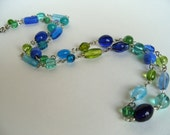 Blue & Green Beaded Glass Necklace - Mesmerizing Lagoon