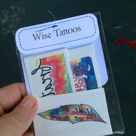 wise tattoos - temporary tattoo set - set of six - two of each design