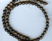 "6mm Unique Tiger Ebony Round Wood Beads 16"" Strand"