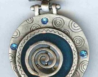 """Antique Silver Pendant with Aqua Rhinestones 58mm 2 1/2"""""""