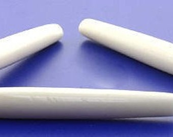 """2 1/2"""" High Quality Natural Ivory Color Bone Hairpipe Beads 25 pcs"""