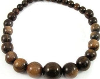 Bold & Chunky Graduated Tiger Ebony Wood Beads 10-25mm 16in