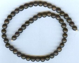 "10mm Unique Matte Black Ebony Round Wood Beads 16"" Strand"