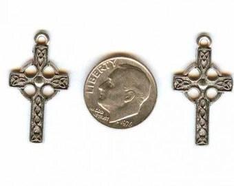 Celtic Cross Antique Pewter Charms Pendants 2 pieces