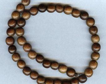 "10mm Unique Dark Brown Robles Round Wood Beads 16"" Strand"