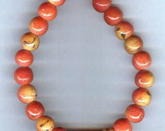 Apple Coral Limestone Beads 10mm 10 pcs UNIQUE QUALITY
