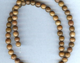 """6mm Unique Robles Wood Round Wood Beads 16"""" Strand"""