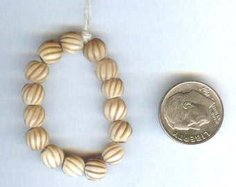 Tea dyed Spiral Carved Round Bone Beads 6mm 15 pcs QUALITY